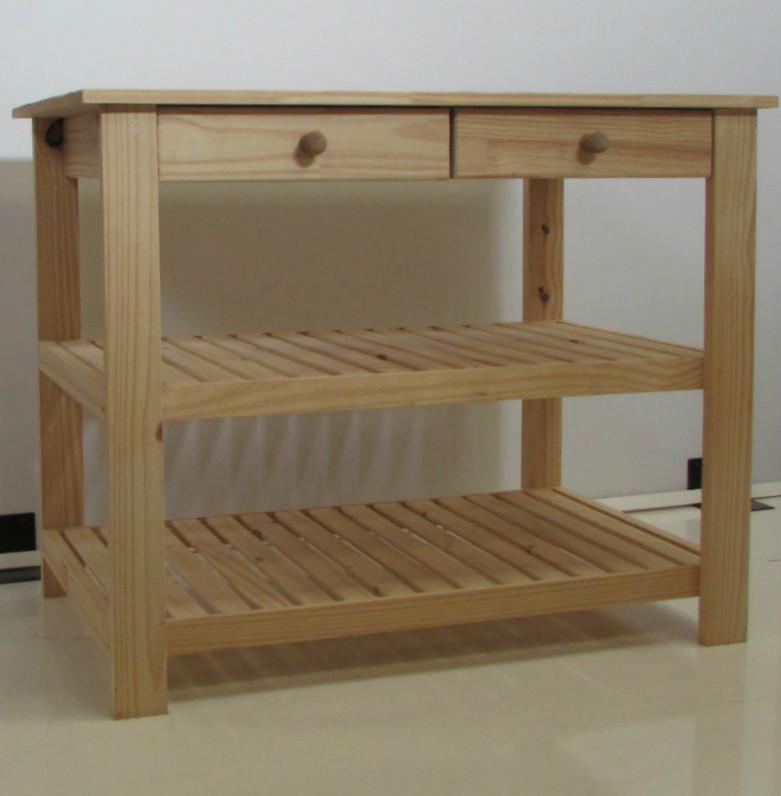 Mesa con estantes y cajones for Muebles con cajones de madera